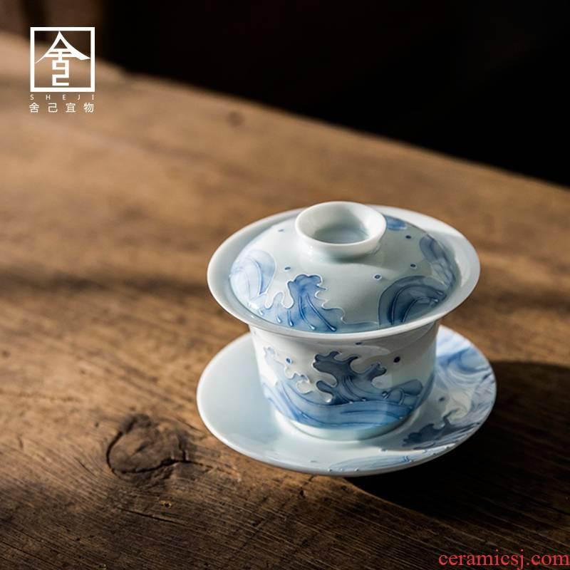 Jingdezhen tureen cordless cup tea bowl bowl of pure manual three cover cup Japanese kung fu tea taking