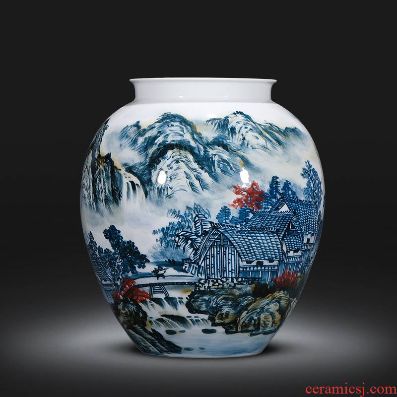 Jingdezhen ceramics famous master manual hand - made vases, new Chinese style living room decorations office furnishing articles