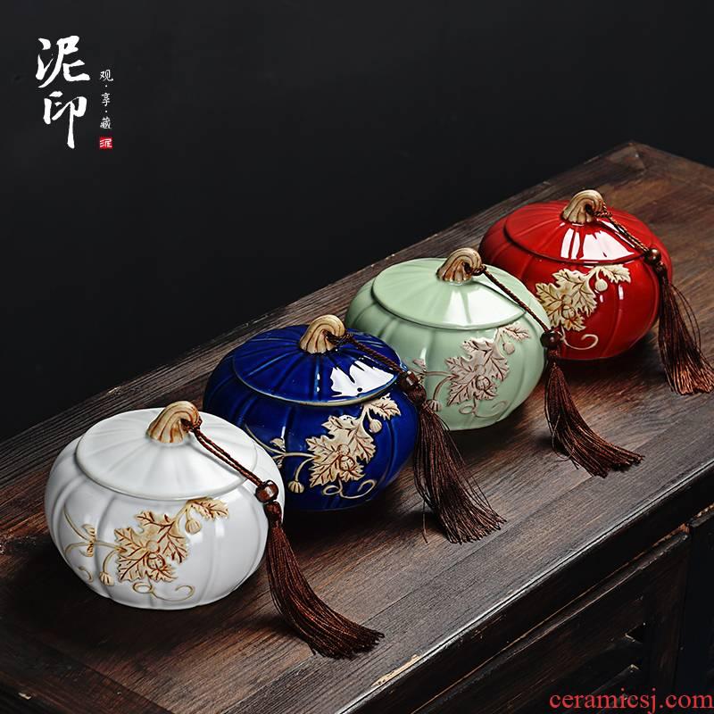 Pumpkin mud seal tea pot ceramic seal moisture receives stock POTS store receives the trumpet puer tea box of household