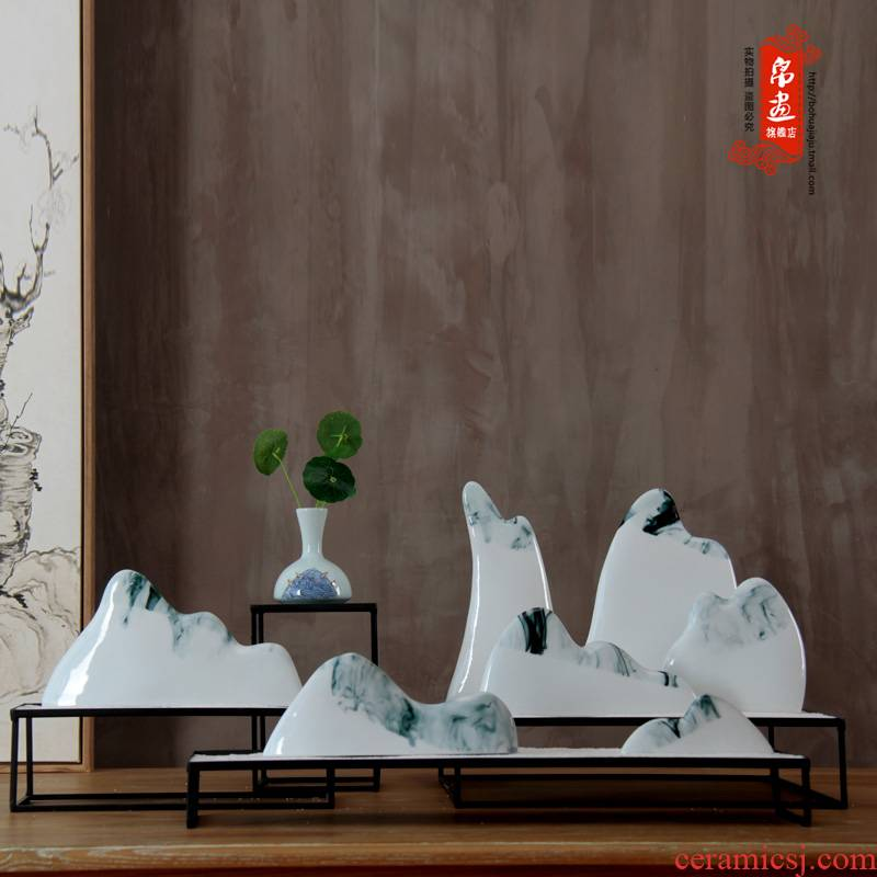 Jingdezhen new Chinese style originality ink mountains furnishing articles sitting room porch decoration ceramic arts and crafts