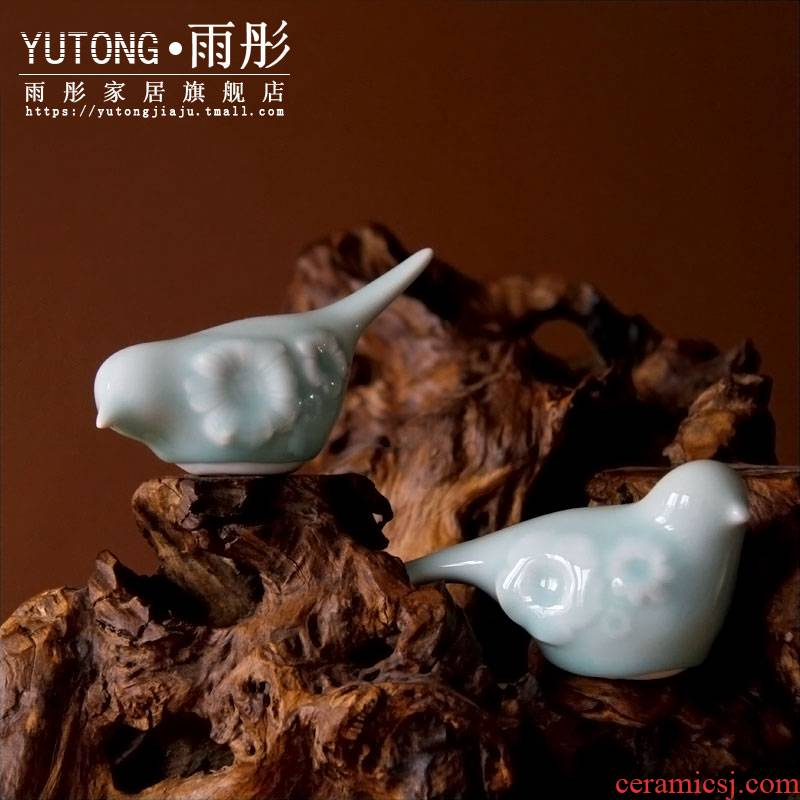 Rain tong creative household act the role ofing is tasted furnishing articles hand knead cuckoo jingdezhen porcelain celadon bird furnishing articles