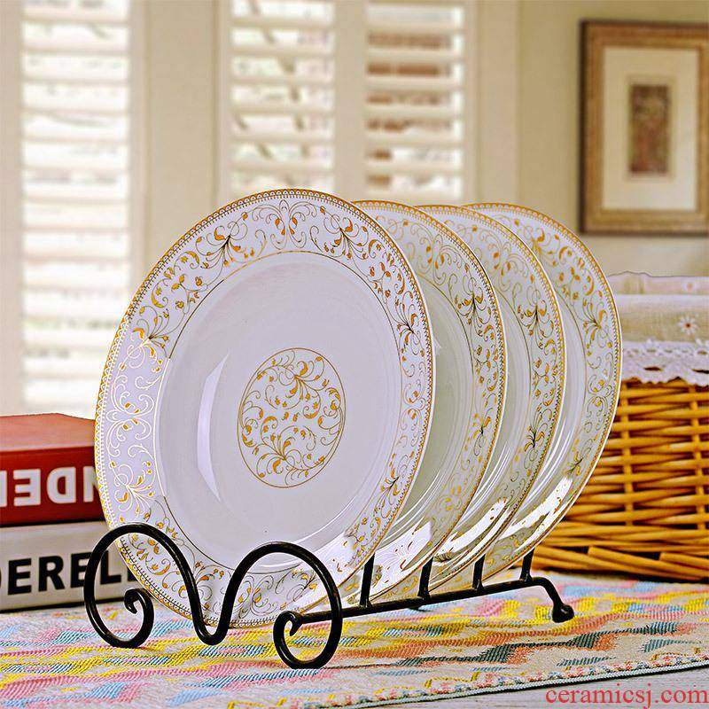 Four pack of household ceramic deep dish 8 inches European FanPan 0 jingdezhen steak dishes suit the circular plate