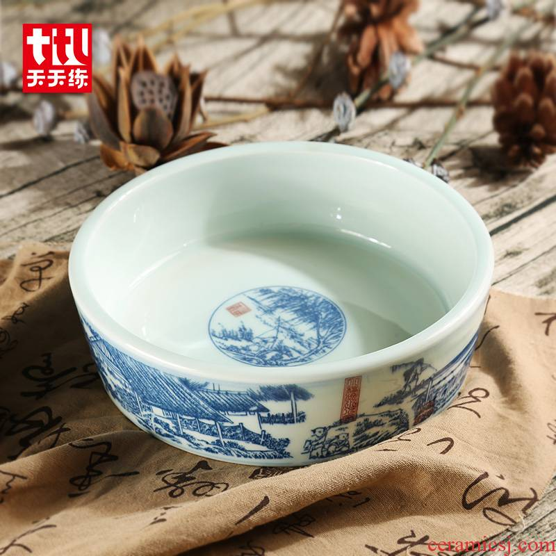 Everyday practice qingming scroll of jingdezhen blue and white porcelain writing brush washer from large archaize bath four treasures of the study supplies