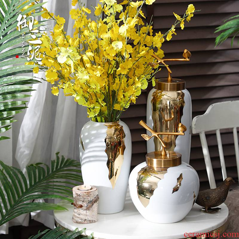 Dried flower flower implement household soft adornment Nordic white ceramic vase furnishing articles I and contracted sitting room Chinese flower arranging
