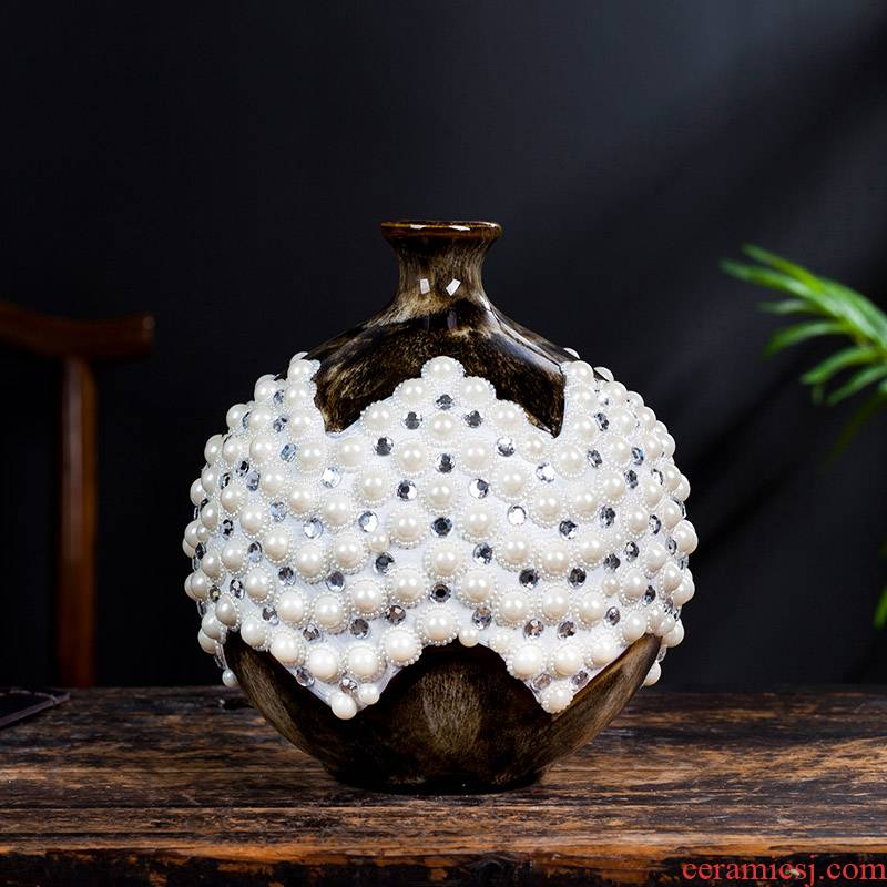 Jingdezhen ceramic pearl pomegranate new sitting room of Chinese style household study creative furnishing articles furnishing articles adornment ornament