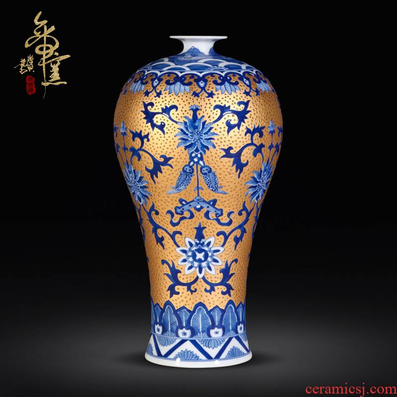Jingdezhen porcelain gold auspicious hand - made porcelain vase more I and fashionable sitting room handicraft furnishing articles