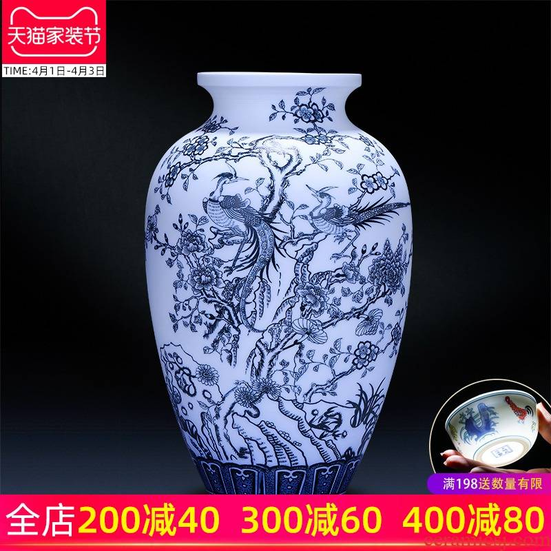 Jingdezhen ceramics hand - made frosted blue and white porcelain vase blooming flowers creative Chinese style household adornment furnishing articles