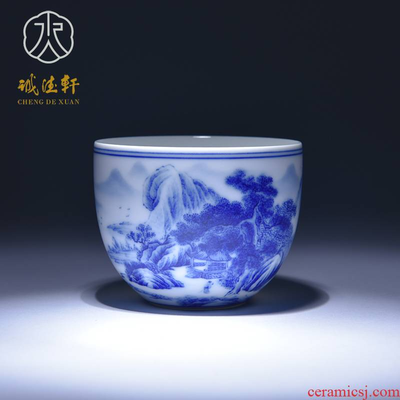 Cheng DE xuan jingdezhen blue and white single gift kung fu tea masters cup hand - made of CPU and 10 blue fairy pavilion