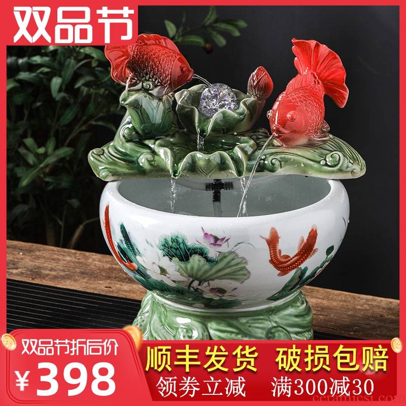 Circulating water fountain furnishing articles office home sitting room of small ceramic aquarium desktop automatic filtering a goldfish bowl