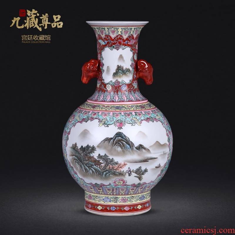 Jingdezhen ceramic antique hand - made colored enamel window landscape TuShang bottles of sitting room home furnishing articles