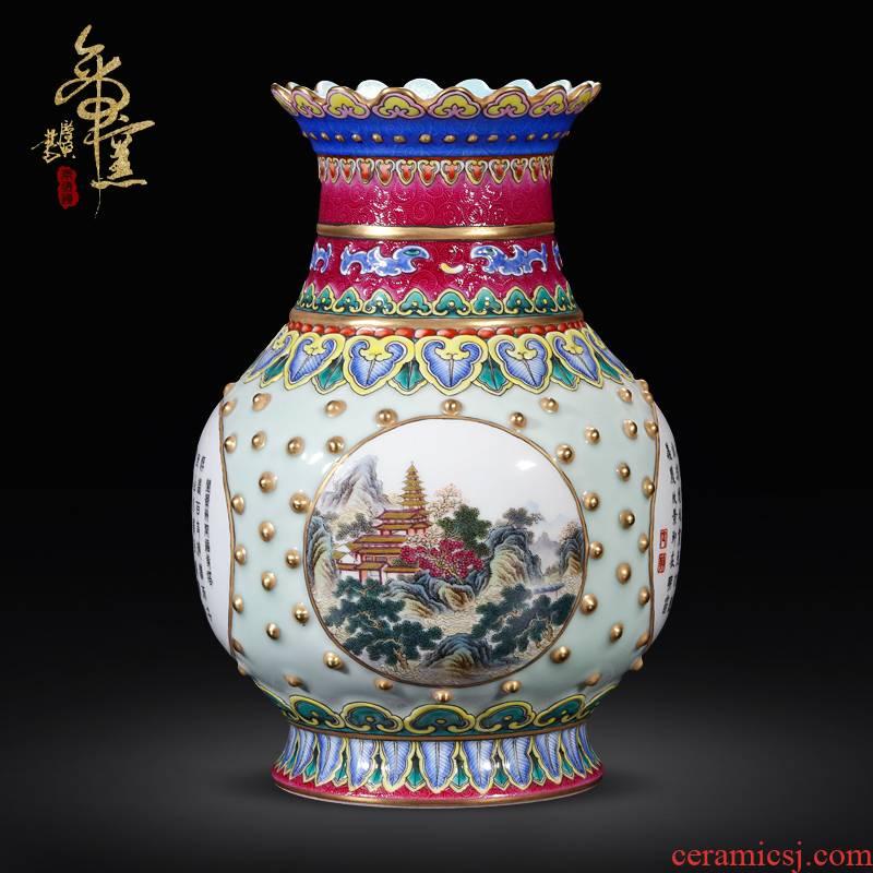 Jingdezhen ceramics imitation the qing qianlong emperor up pea green glaze medallion landscape sense grain drum nail bottles of the sitting room is placed