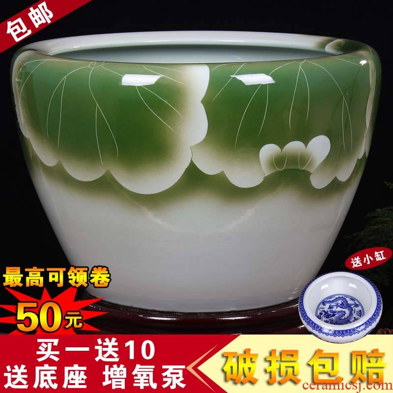 Jingdezhen ceramic aquarium fish bowl lotus extra large bowl lotus lotus flower pot balcony garden feng shui water tanks