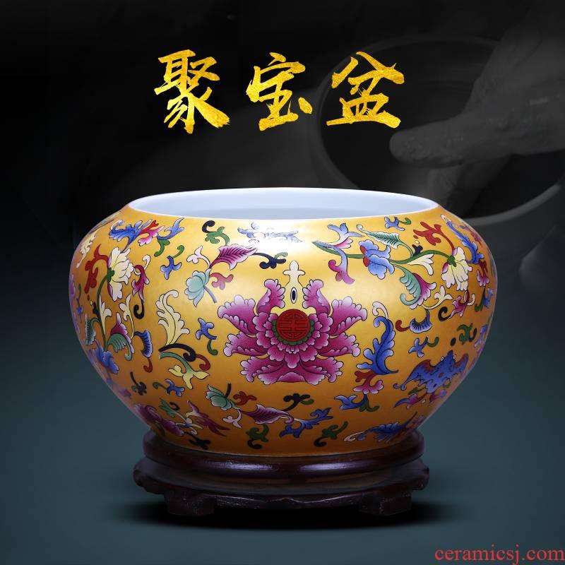 Jingdezhen ceramics cornucopia aquarium lucky decoration and furnishing articles tea to wash to the writing brush washer water shallow feng shui water lily flower pot