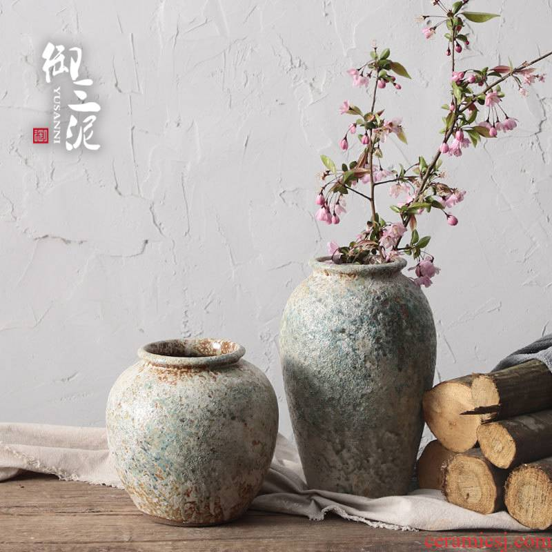 Manual coarse TaoHua apparatus more flesh POTS of jingdezhen ceramic dry flower adornment is placed the vase Japanese zen music teahouse