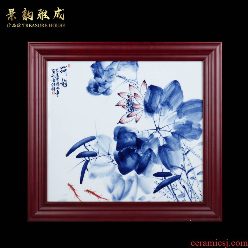 Jingdezhen ceramic Chinese prosperous adornment figure household study of sitting room sofa setting wall is blue and white porcelain plate painting