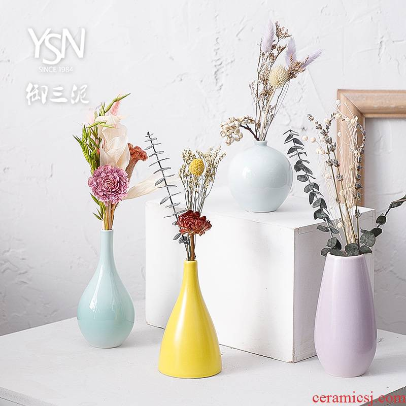 Modern small pure and fresh and creative home decoration dry vase Nordic furnishing articles, ikebana ceramic floret bottle contracted sitting room