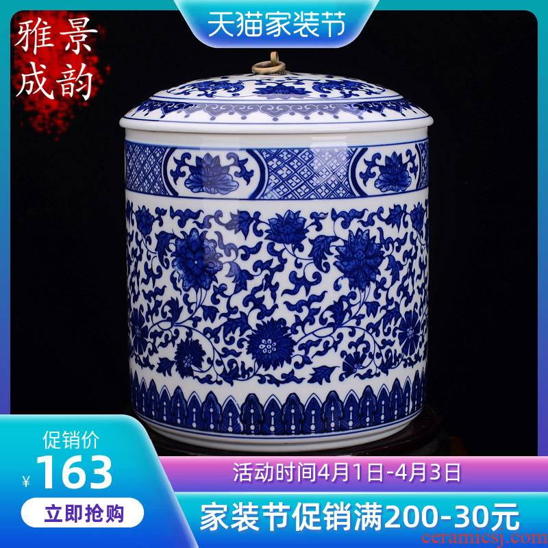 Jingdezhen ceramic tea pot of bread seven pu 'er wake receives the manual receives tea urn barrels of large - sized jar