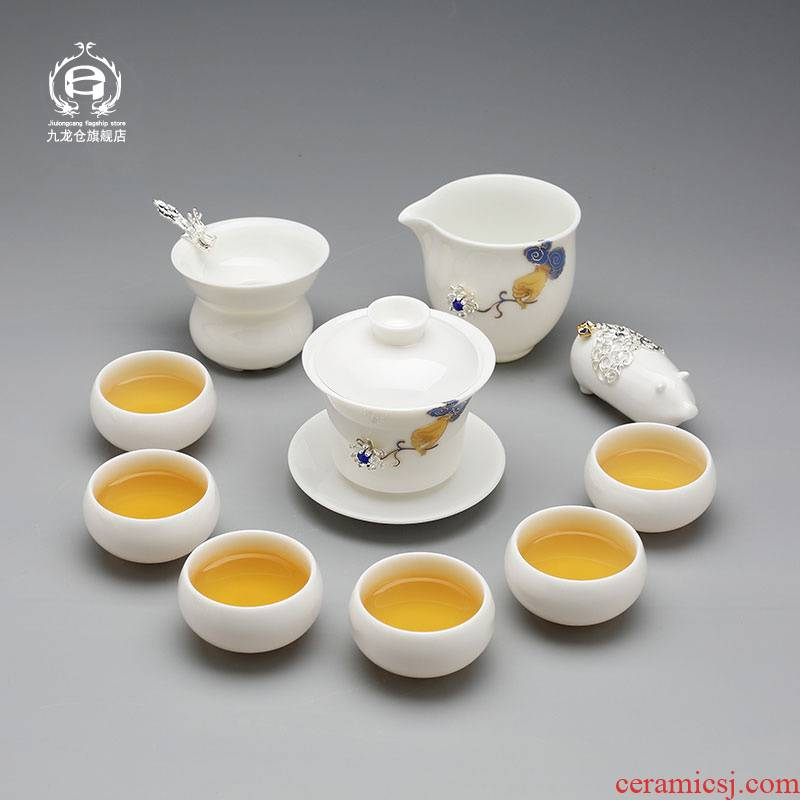 DH jingdezhen porcelain tea set suit household kung fu noggin contracted with modern ceramic teapot silver cup
