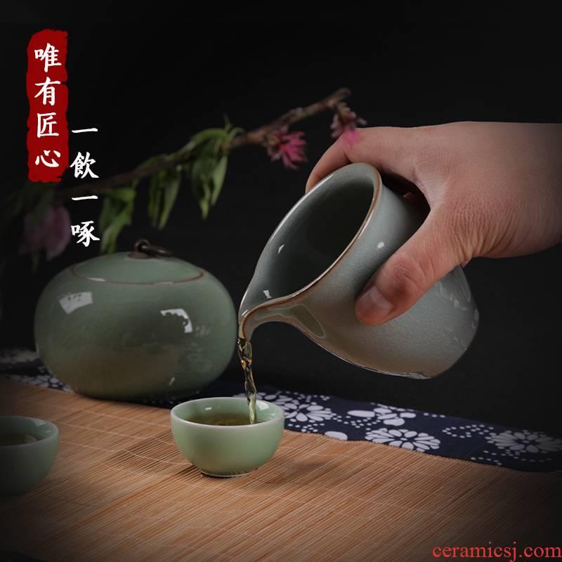 Porcelain rhyme together scene up celadon Wang Wenyu seed grain kung fu tea tea sea fair keller handless small points tea is tea soup