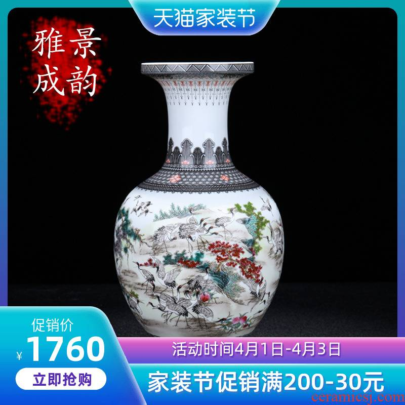 Jingdezhen ceramic hand - made the crane figure apple bottle of flower vase furnishing articles home porcelain sitting room adornment