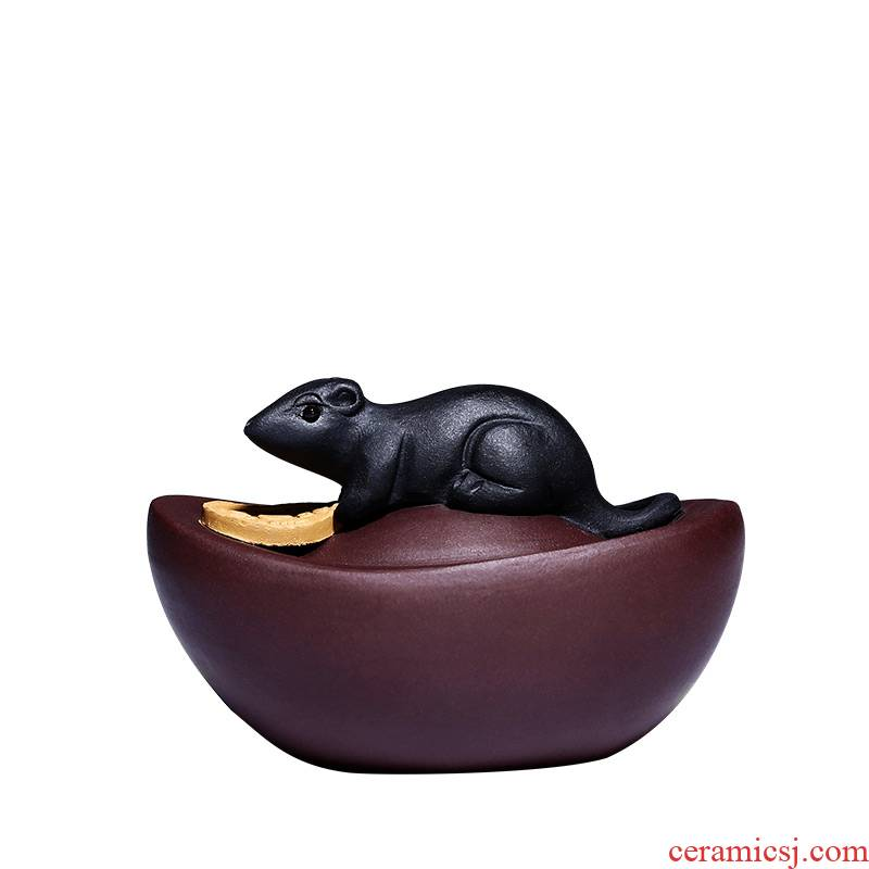Shadow enjoy purple purse mice furnishing articles household lucky money rat HSMP zodiac mouse arts and crafts