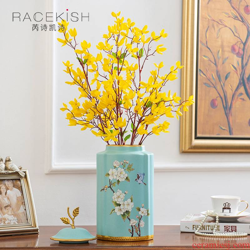 European ceramic vase mesa creative furnishing articles sitting room porch decorate ceramic flower arranging dried flowers floral suit as a whole