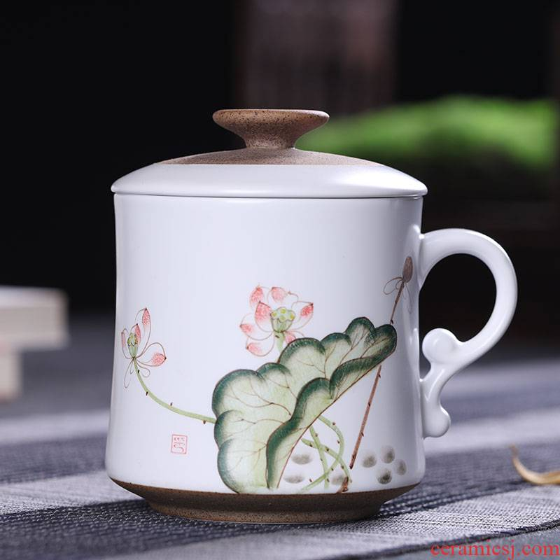 Jingdezhen ceramic cups with cover household hand - made filter glass tea cup office personal cup tea custom