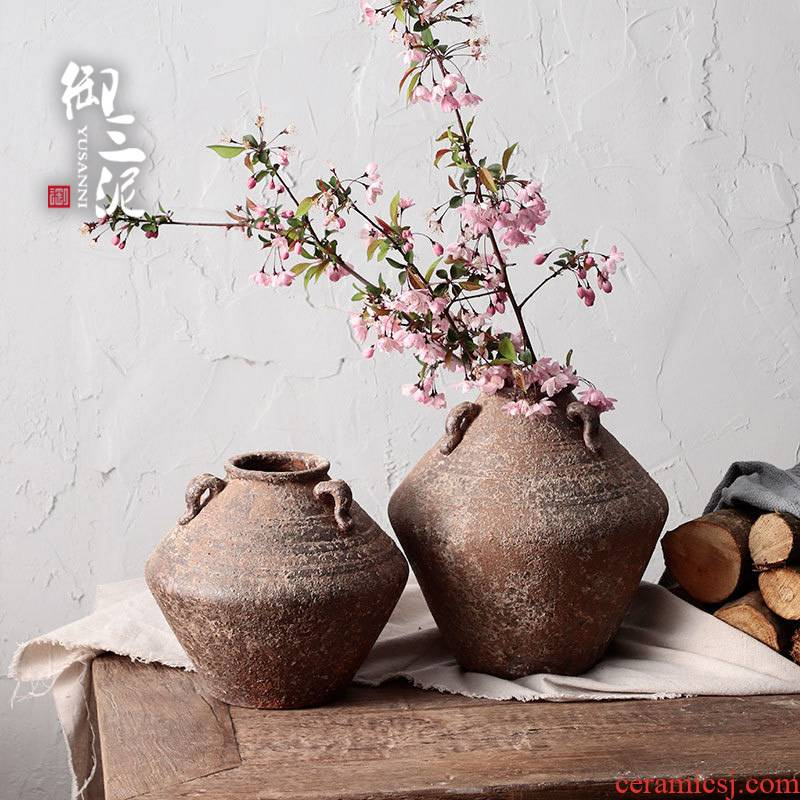 Manual coarse pottery dried flower adornment furnishing articles flower implement hand made tea POTS jingdezhen ceramic vase zen flowerpot