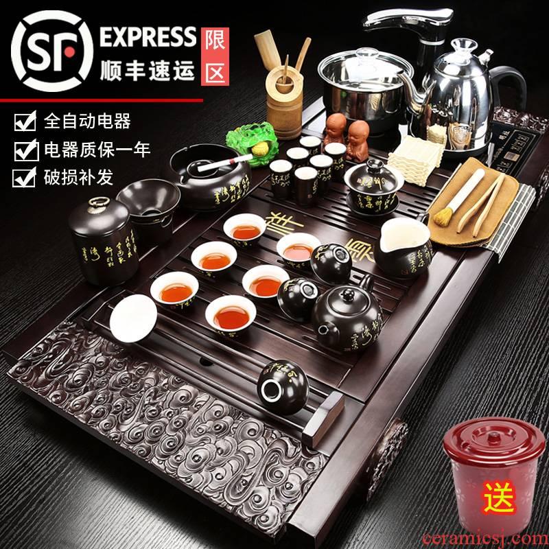 Porcelain heng tong automatic tea set up a complete set of purple sand pottery and Porcelain household contracted kung fu tea tea tea tray