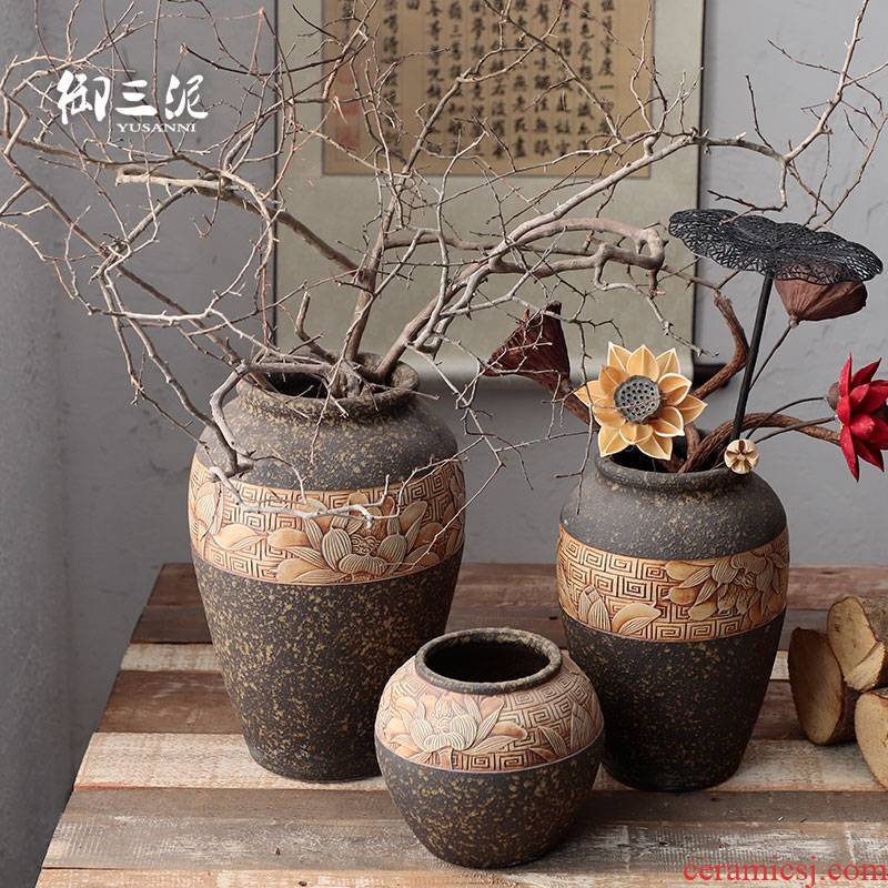 Manual its pottery rural meaty plant potted place flowerpot vase coarse pottery dry flower arranging flowers ornament