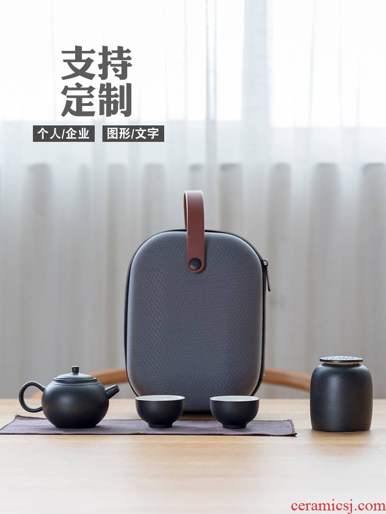 Ceramic travel kung fu tea set is suing crack of portable bag with a second pot cup custom logo