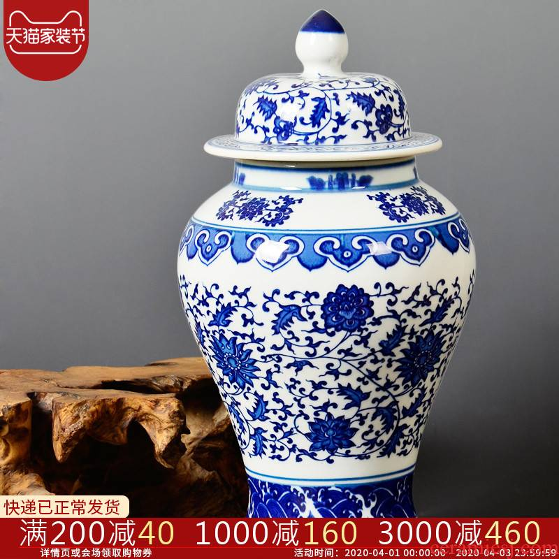 Classic blue and white porcelain vase cb32 jingdezhen ceramics sitting room adornment is placed on the general tank storage tank caddy fixings