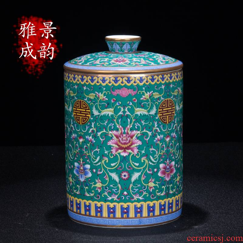 Jingdezhen ceramic colored enamel storage tank of the new Chinese style tea caddy fixings China home sitting room tea table