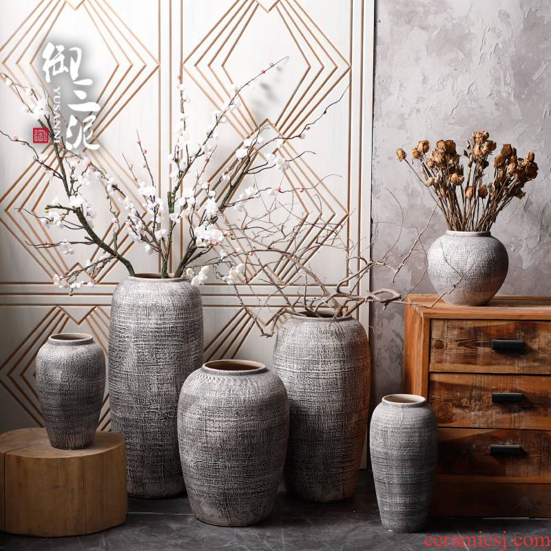 Contracted and I ceramic dry flower vase restoring ancient ways furnishing articles sitting room put flowerpot coarse pottery flowerpot more meat POTS decoration
