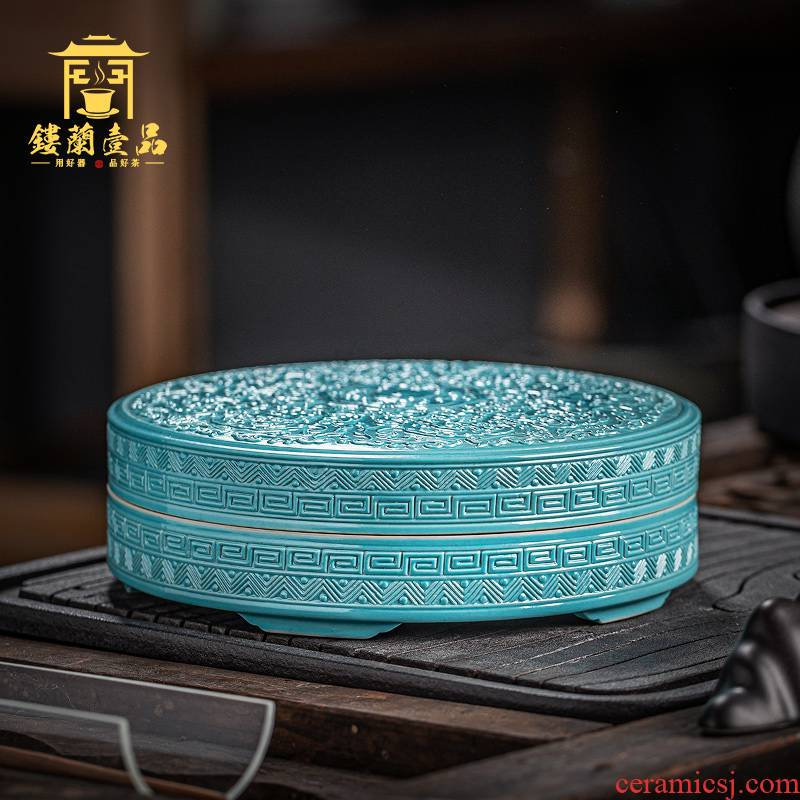 Jingdezhen ceramic all hand carved turquoise longnu tea caddy fixings caddy fixings large - sized receive sealed storage tank