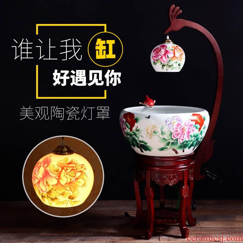 Circulation indoor goldfish bowl porcelain home sitting room with heavy lamp jingdezhen basin of Chinese style furnishing articles ceramic aquarium fish