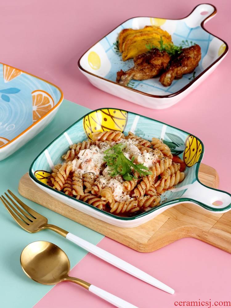Japanese ceramic pan baking dish home dish dish dish creative Nordic web celebrity disc beefsteak plate tableware