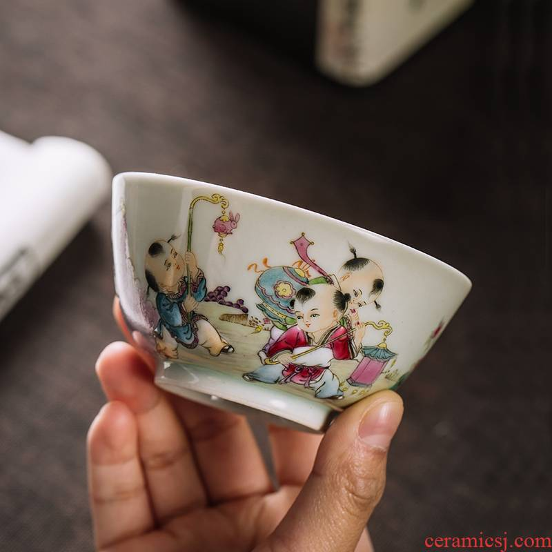 The Owl up jingdezhen tea hand - made lad colored enamel master cup cup draw blue cup kung fu tea cups
