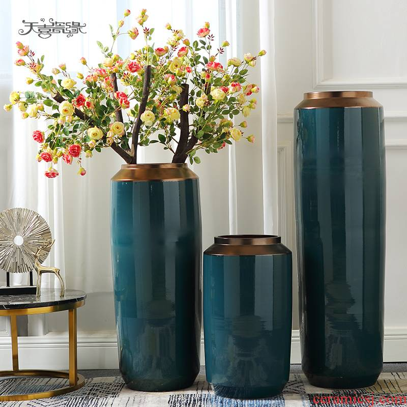 Jingdezhen ceramic vase landing a large sitting room simulation flowers flower arrangement suits for European - style key-2 luxury household act the role ofing is tasted furnishing articles