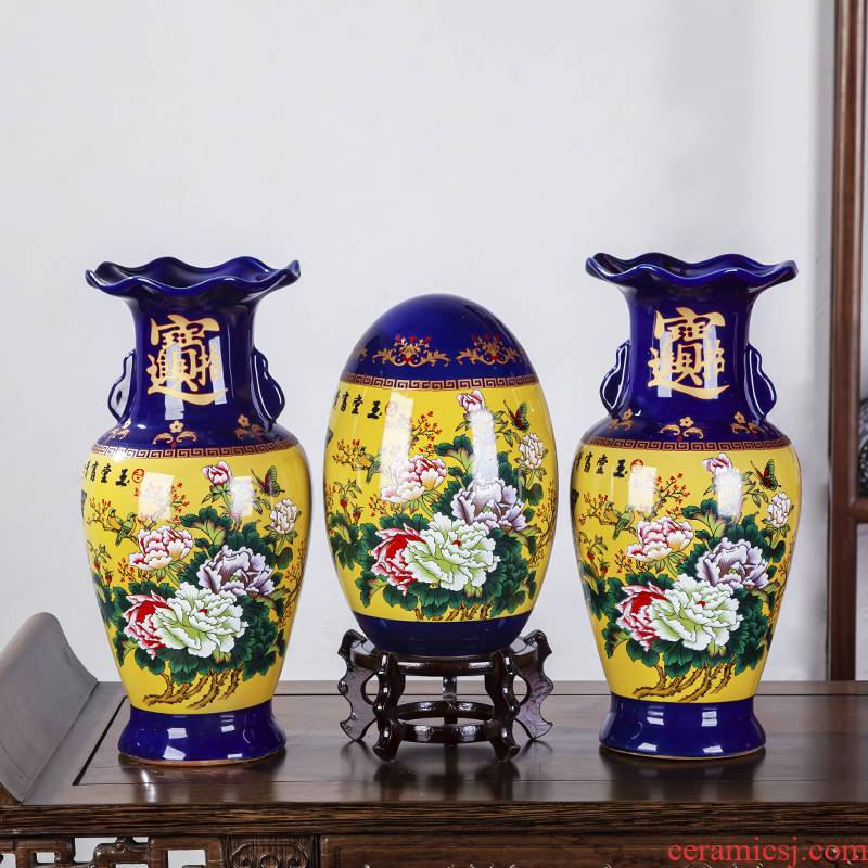Jingdezhen ceramics cloisonne vase three - piece furnishing articles of Chinese style home decoration flower arranging rich ancient frame in the living room