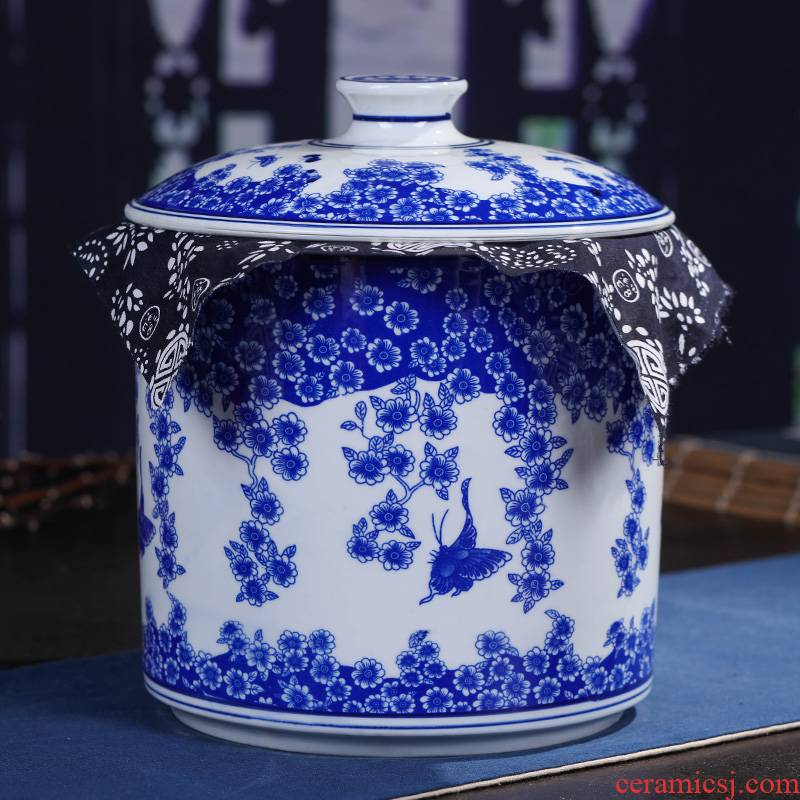 Jingdezhen ceramics pu 'er tea pot tea tea cake box domestic large - sized ceramic tea seal pot