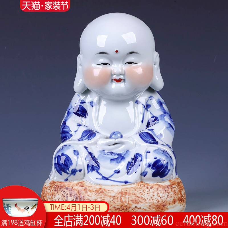 Jingdezhen ceramics hand - made of blue and white porcelain maitreya home furnishing articles, the sitting room porch decoration