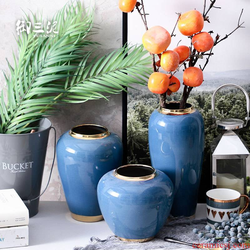 Contracted and I European ceramic vases, flower arrangement sitting room decoration home decoration dry flower is placed blue small POTS