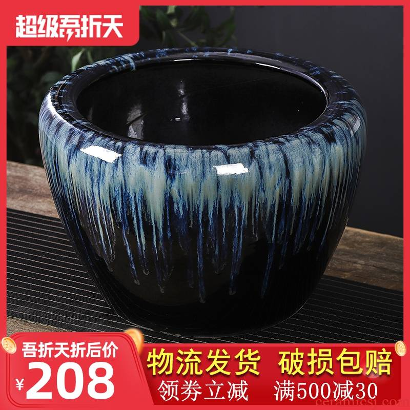 Ceramic aquarium sitting room ground large furnishing articles goldfish bowl to restore ancient ways the yard cylinder cylinder tank water lily lotus to breed fish
