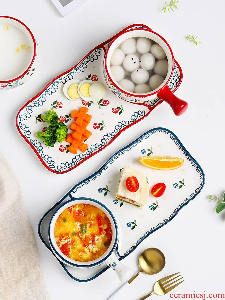 Web celebrity ins plate one bowl of food for breakfast individuality creative nice plate tableware ceramic tea set
