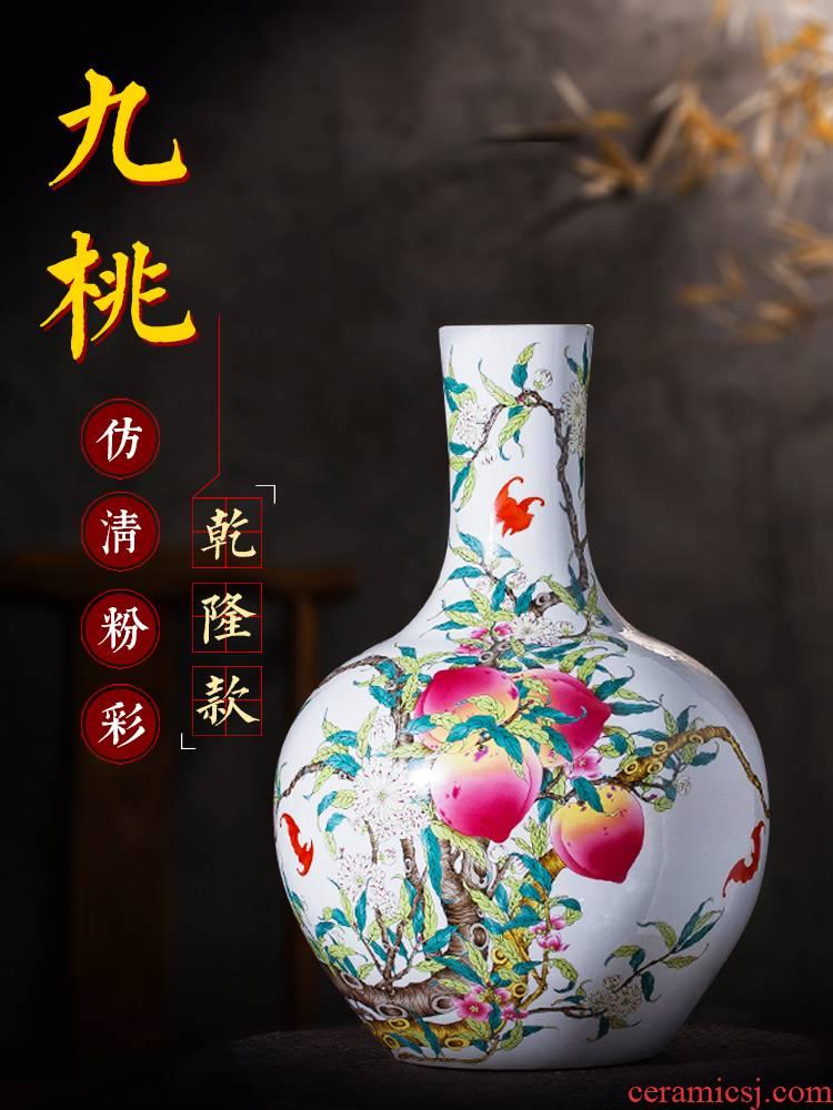 Jingdezhen ceramics archaize large vases, flower arrangement home rich ancient frame edge horn what adornment is placed large living room