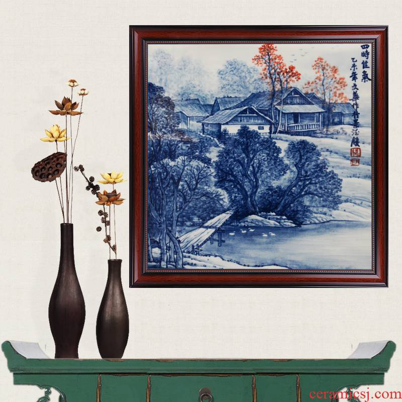 Blue and white hand draw four famous masterpieces better gas porcelain of jingdezhen ceramics partition handicraft painting murals sitting room