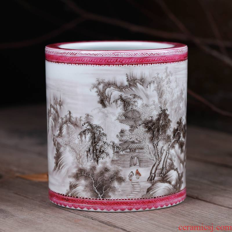 "Offered home - cooked brush pot stationery furnishing articles in the manual ""four appliance hand - made ceramic famille rose decoration art household act the role ofing is tasted"