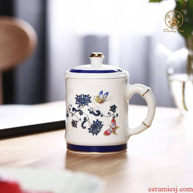 Chang south ceramic filter with cover cup of jingdezhen blue and white and exquisite tea tea office cup enamel office