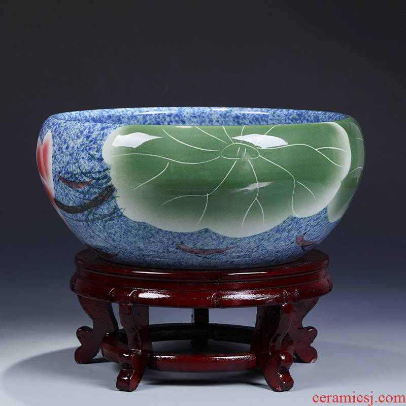 Jingdezhen ceramics goldfish turtle cylinder household water lily shallow hydroponic flower pot creative up furnishing articles in the living room